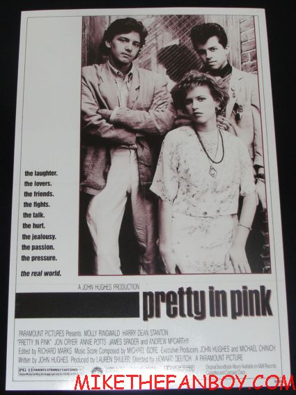 pretty in pink rare promo movie poster molly ringwald jon cryer andrew mccarthey