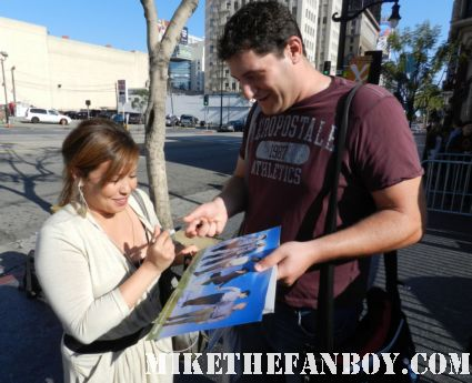 six feet under star Justina Machado signs autographs for mike the fanboy at the young playwright's festival in los angeles