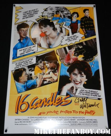 16 candles signed autograph promo uk mini poster Gedde Watanabe aka long duck dong from 16 candles signs autographs for fans in hollywood at the young playwrights festival