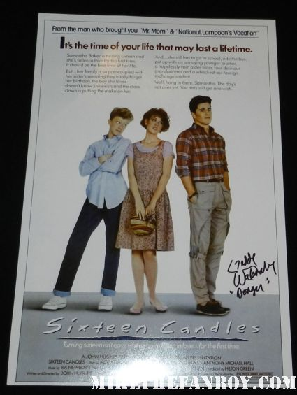 16 candles signed autograph promo mini poster Gedde Watanabe aka long duck dong from 16 candles signs autographs for fans in hollywood at the young playwrights festival