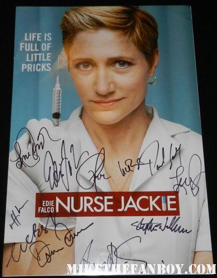 nurse jackie cast signed autograph mini poster edie falco lenny jabobson merrit weaver anna devere smith rare promo