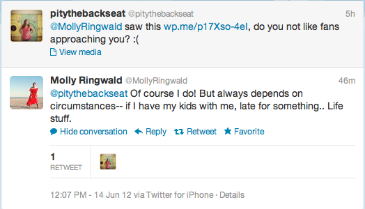 molly ringwald responding on twitter about being nasty to her fans at gay pride 2012 in west hollywood