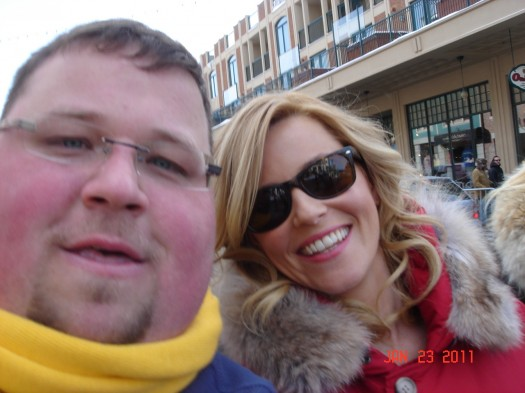 elizabeth banks posing for a fan photo at the sundance film festival in utah rare role models star