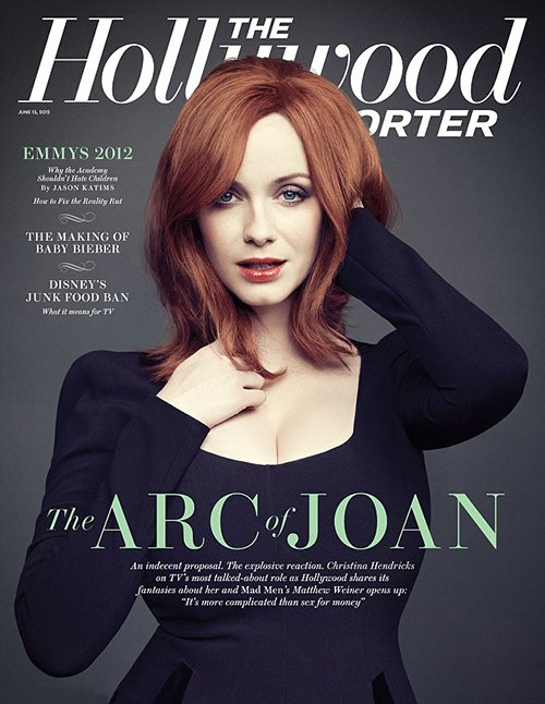 christina-hendricks hot and sexy hollywood reporter magazine cover june 2012 mad men season 5 joan hot sexy red head rare promo