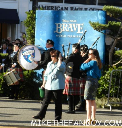bag pipe players at walt disney's world premiere of brave pixar rare red carpet scottish animated classic