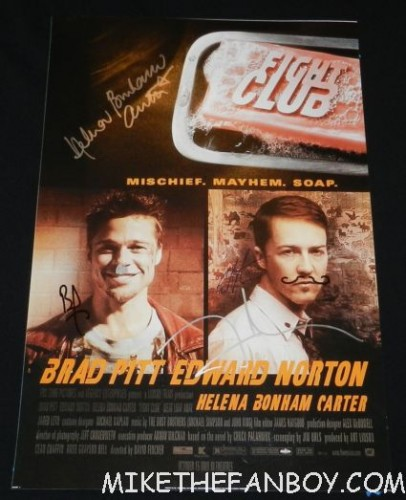 edward norton signed autograph signature fight club promo mini poster brad pitt helena bonham carter david fincher