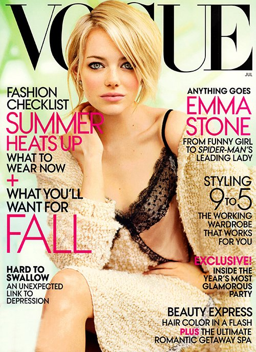 emma-stone-vogue magazine cover july 2012 sexy hot photo shoot the amazing spider man promo photo shoot sexy hot rare promo the help