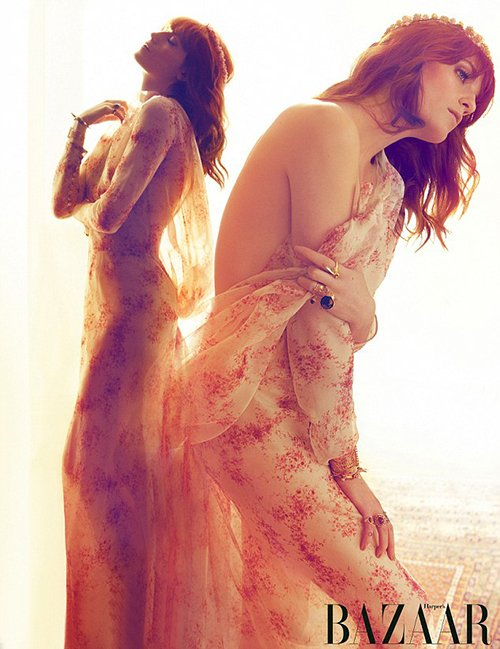 florence-welch-harpers-uk- florence welch from florence and the machine covers the july 2012 issue of Harper's Bazaar magazine uk rare hot and sexy photo shoot