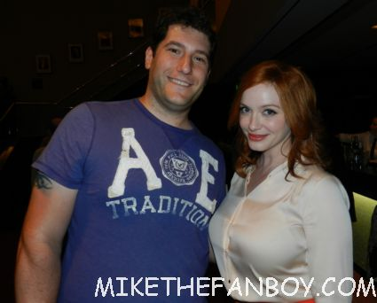 Mike the fanboy posing with mad men star sexy Christina hendricks at the mad men q and a television academy emmy event