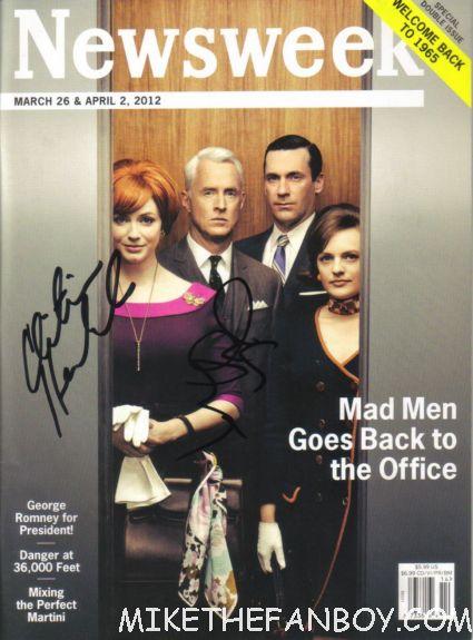mad men signed newsweek magazine autograph rare promo christina hendricks john slattery rare promo