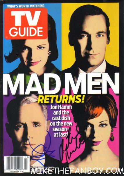 mad men signed tv guide magazine john slattery christina hendricks rare promo autograph signature