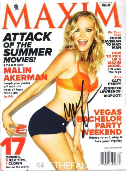 malin akerman signed maxim magazine hot sexy rare autograph magazine cover promo