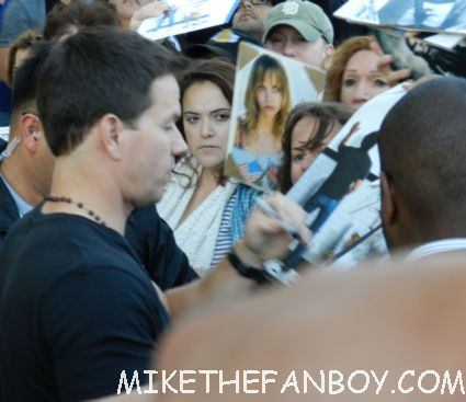 marky mark wahlberg signing autographs for fans after a talk show taping promoting ted with mila kunis