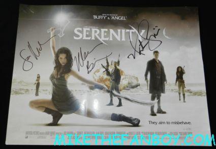 sean maher nathan fillion morena baccarin signed autograph serenity promo uk quad mini poster promo