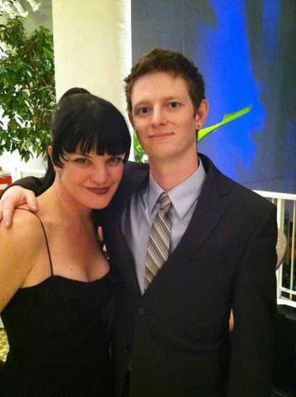 justin from mike the fanboy with pauley perrette fron ncis at the third annual thirst benefit at the beverly hilton
