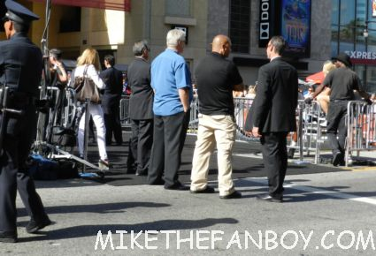 security waiting for Tom Cruise to arrive at the rock of ages world movie premiere to sign autographs for fans