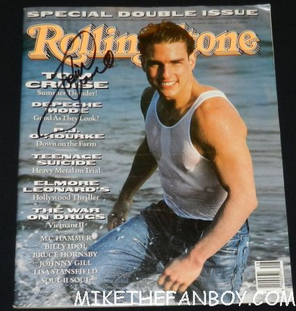 tom cruise signed autograph 1990 rolling stone magazine cover tank top muscle rare shirtless mini poster hot sexy tom cruise signing autographs for fans looking hot and sexy at the rock of ages world movie premiere