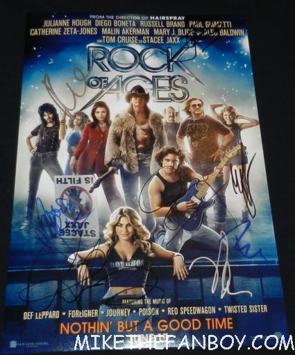 rock of ages signed autograph movie poster promo tom cruise russell brand malin akerman catherine zeta jones alec baldwin debbie gibson