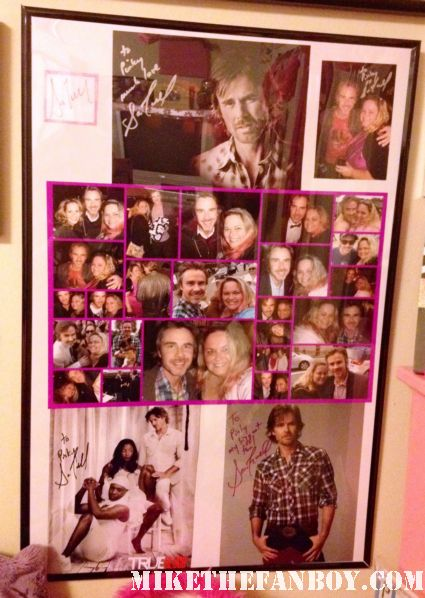 pinky's sam trammell tribute poster that she has in her room with several fan photos of the true blood star