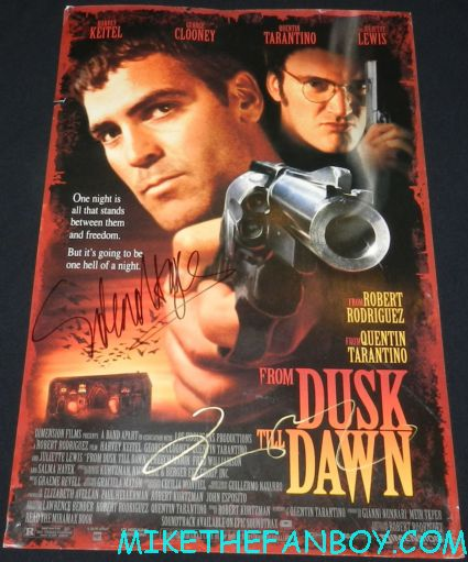 Salma Hayek signed autograph from dusk til dawn promo mini movie poster  signing autographs at the savages world movie premiere in westwood hot sexy from dusk till dawn actress