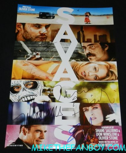 savages cast signed autograph promo mini poster movie salma hayek emile hirsch taylor kitsch