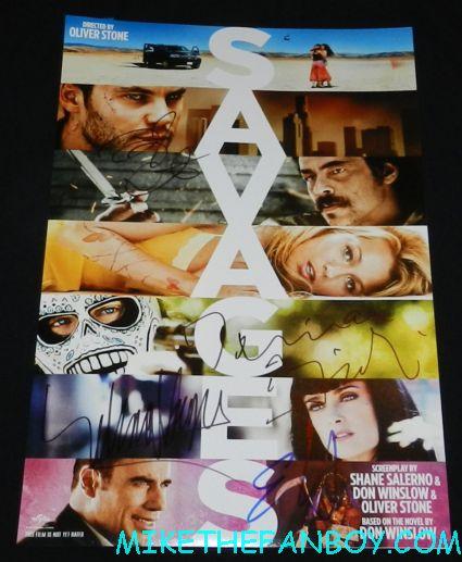 savages cast signed autograph promo mini poster movie salma hayek emile hirsch taylor kitsch