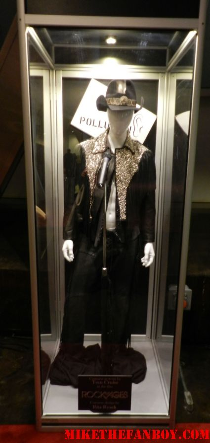 tom cruise's black cowboy hot and leopard print vest shirtless costume and prop display as stacey jaxx from rock of ages cosplay