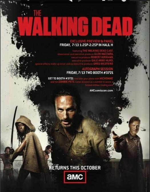 The Walking Dead season 3 rare comic con promo poster image andrew lincoln hot sexy rare san diego comic con 2012 awesome