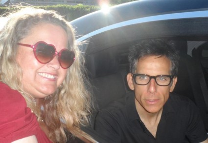 pretty in pinky with meet the parents star ben stiller outside a talk show promoting the watch fan photo mike the fanboy