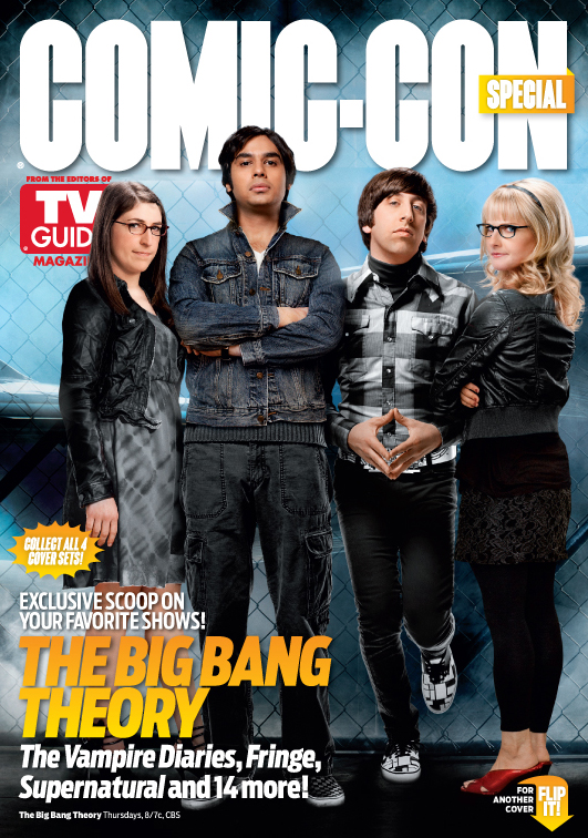 The big bang theory rare tv guide san diego comic con limited edition magazine cover rare promo johnny galecki kaley cuoco jim parsons