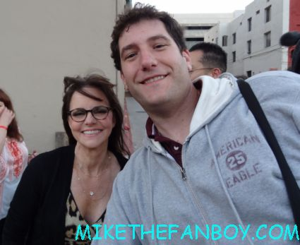 mike the fanboy with acting legend ms. sally field posing for a fan photo after signing autographs for fans