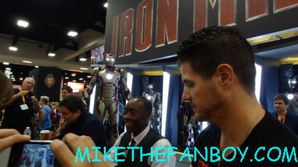 the marvel suit on display during the autograph signing at sdcc 2012 comic con with shane black and don cheadle