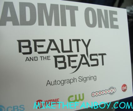 beauty and the beast autograph signing ticket from the raffle at sdcc 2012 san diego comic con 2012