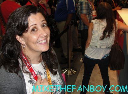 suddenly susan happy that she got to be first in line for the beauty and the beast autograph signing at the showtime cbs booth at san diego comic con