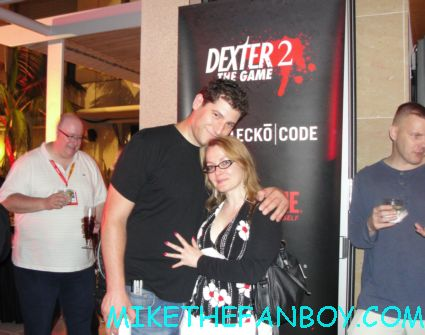mike the fanboy and annette slomka at the showtime party at san diego comic con 2012 sdcc rare hot sexy dexter promo items