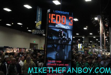 the lionsgate booth at san diego comic con 2012 at the judge dredd autograph signing on the exhibit floor rare