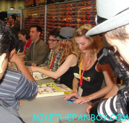 the cast of bob's burgers signing autographs at the fox booth at san diego comic con 2012 sdcc