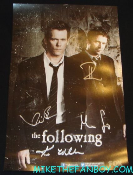 the following cast signed autograph mini promo poster fox booth kevin bacon james purefoy the following cast autograph signing with kevin bacon james purefoy hot sexy rare promo FOX booth san diego comic con 2012 sdcc rare