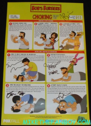 bob's burgers cast signed autograph mini movie promo poster the cast of bob's burgers signing autographs at the fox booth at san diego comic con 2012 sdcc