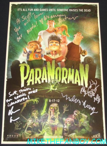 paranorman signed autograph mini movie poster from san diego comic con 2012 sdcc 2012