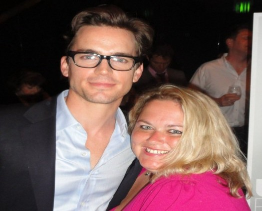pinky posing with sexy hot matt bomer  for a fan photo rare promo hot sexy white collar neil caffrey rare promo hot sexy in time stunner