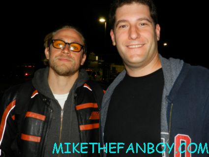 Mike the fanboy with sons of anarchy star charlie hunnam hot sexy rare promo annette and charlie hunnam from sons of anarchy posing for a fan photo sons of anarchy star charlie hunnam signing autographs for fans outside the set of sons of anarchy on the set of sons of anarchy waiting for Charlie hunnam to finish and sign autographs for fans