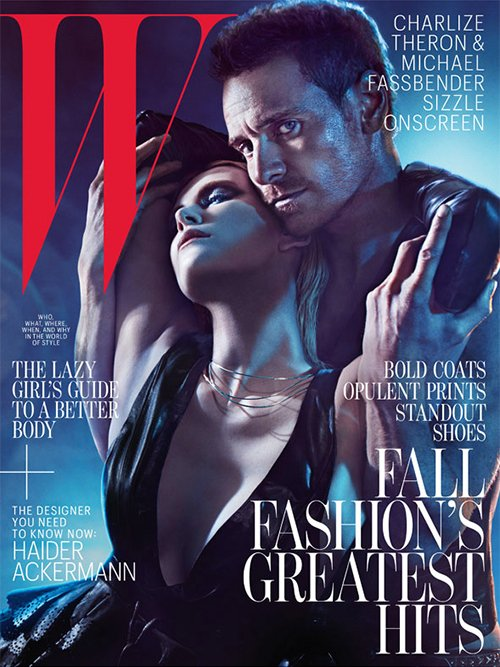 charlize theron and michael fasbender w magazine cover august 2012 hot sexy shirtless naked photo shoot promo rare prometheus david pecs muscle rare