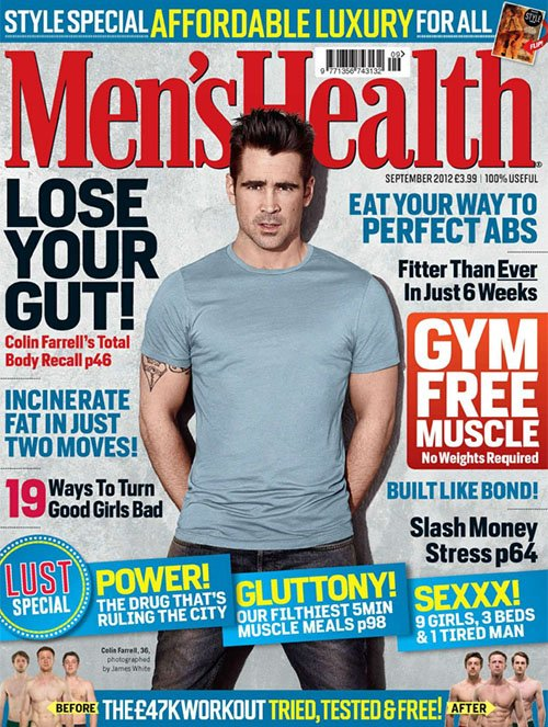 colin-farrell-mens-health-uk-september-2012 colin farrell sexy magazine cover rare promo uk men's health magazine cover rare promo hot sexy photo shoot sexy promo rare total recall star