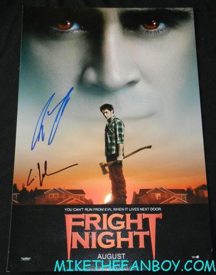 colin farrell anton yelchin signed autograph fright night mini movie poster rare promo hot sexy vampire movie