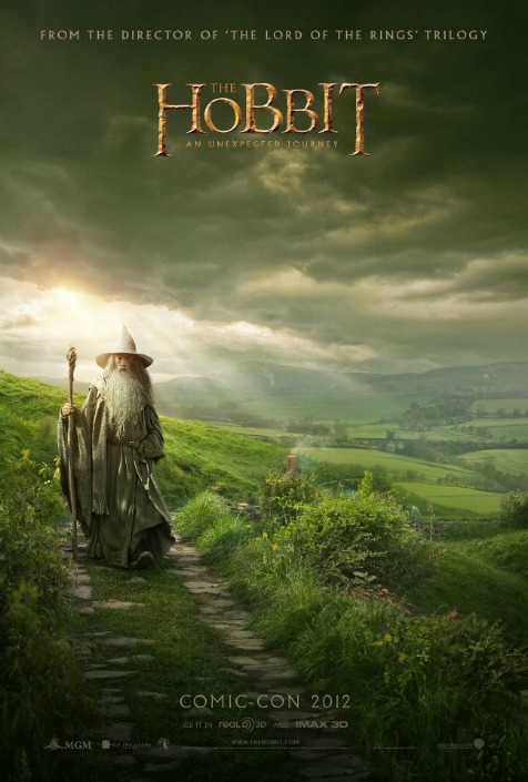 comic-con-the-hobbit-poster rare san diego comic con 2012 exclusive the hobbit poster featuring ian mckellen as gandalf the grey walking in the shire