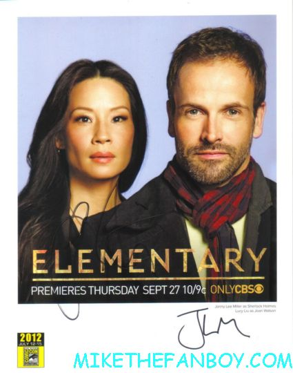 elementary cast signed poster comic con photo press still lucy liu jonny lee miller rare promo hot sexy