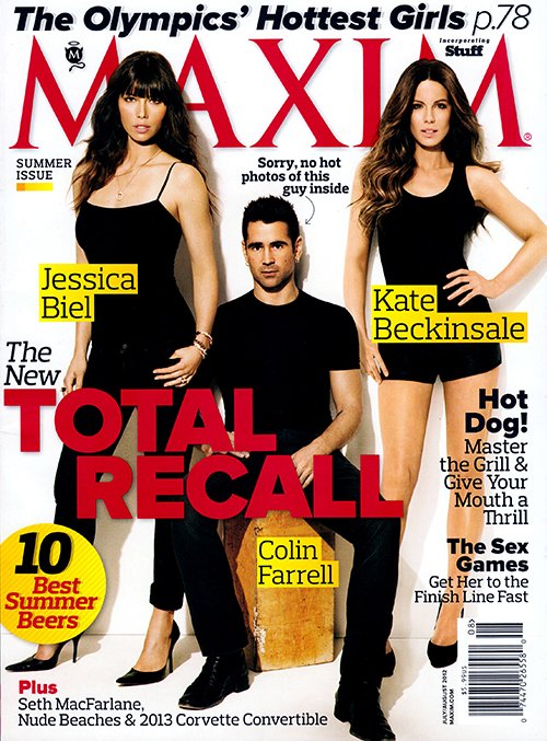 maxim-total-recall magazine cover colin farrell kate beckinsale jessica biel rare hot sexy photo shoot photoshoot rare promo hot sexy maxim magazine july 2012 cover rare