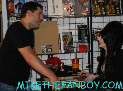 mike the fanboy talking to and meeting Elvira mistress of the dark at golden apple comics at her fan autograph signing rare promo hot sexy