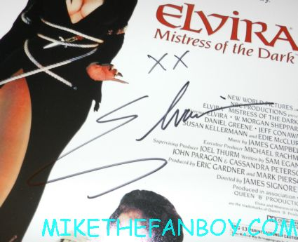 elvira mistress of the dark rare promo mini movie poster promo signed autograph by cassandra peterson aka elvira at golden apple comics